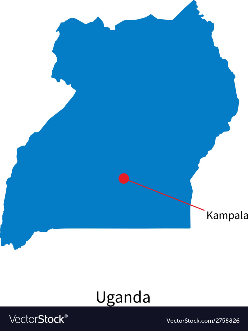 Detailed map of uganda and capital city kampala vector | Price: 1 Credit (USD $1)