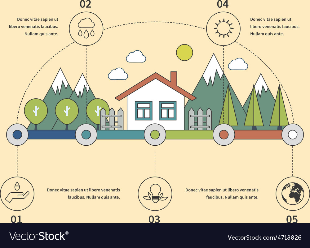 Ecology infographic elements flat vector | Price: 1 Credit (USD $1)