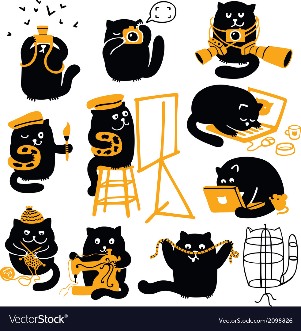 Group of black cats creative professions vector | Price: 1 Credit (USD $1)