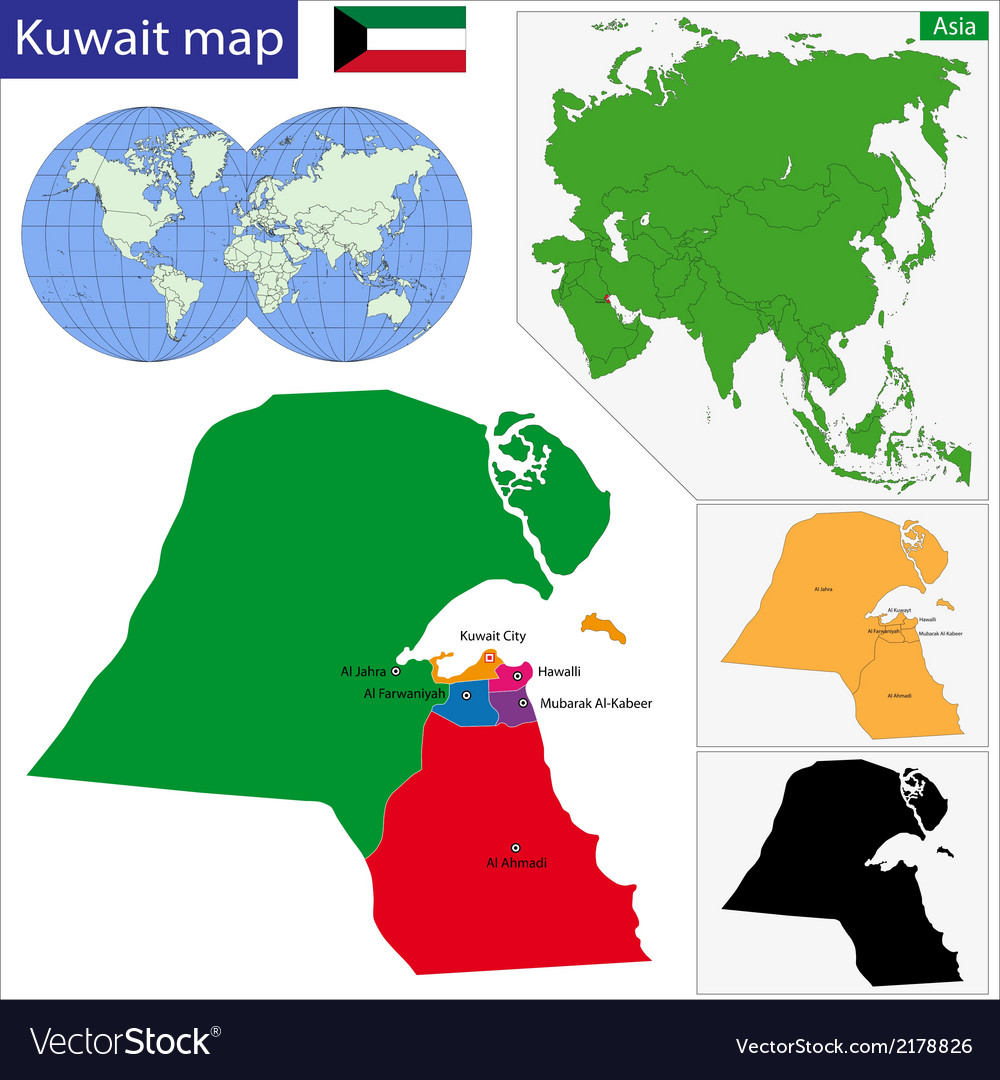 Kuwait map vector | Price: 1 Credit (USD $1)