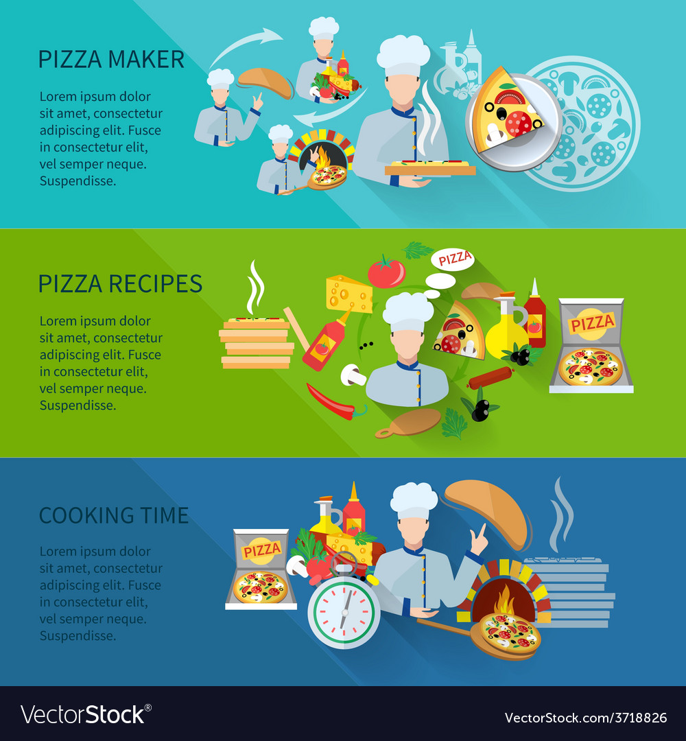 Pizza maker banner vector | Price: 1 Credit (USD $1)