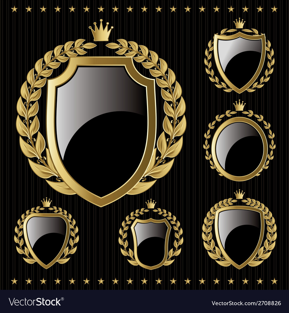 Set of golden emblem with shield and wreaths vector | Price: 1 Credit (USD $1)