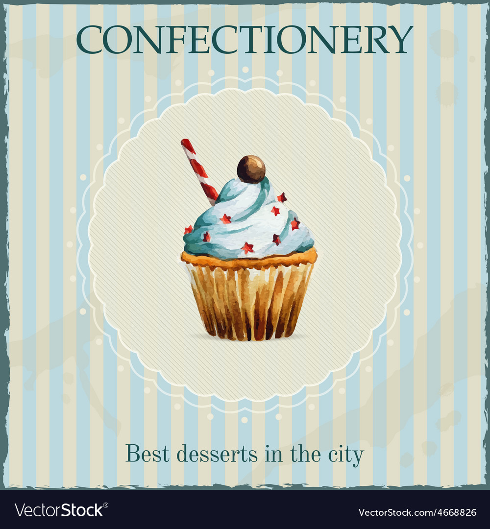 Watercolor confectionery advertisement with vector | Price: 1 Credit (USD $1)