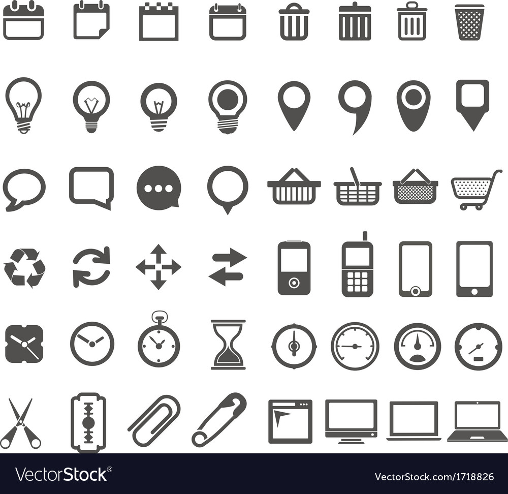 Web icons collection isolated on white vector   Price: 1 Credit (USD $1)