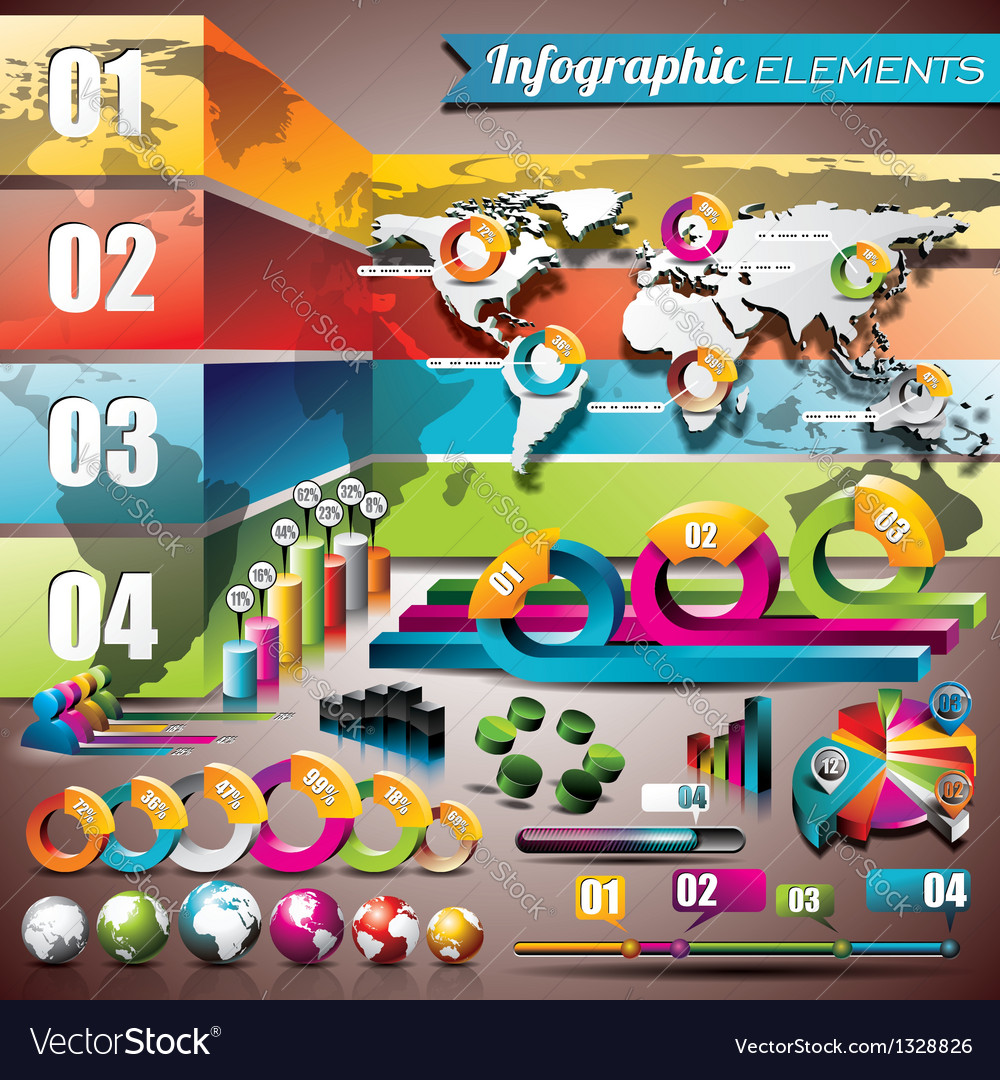 World map design set of infographic elements vector | Price: 3 Credit (USD $3)
