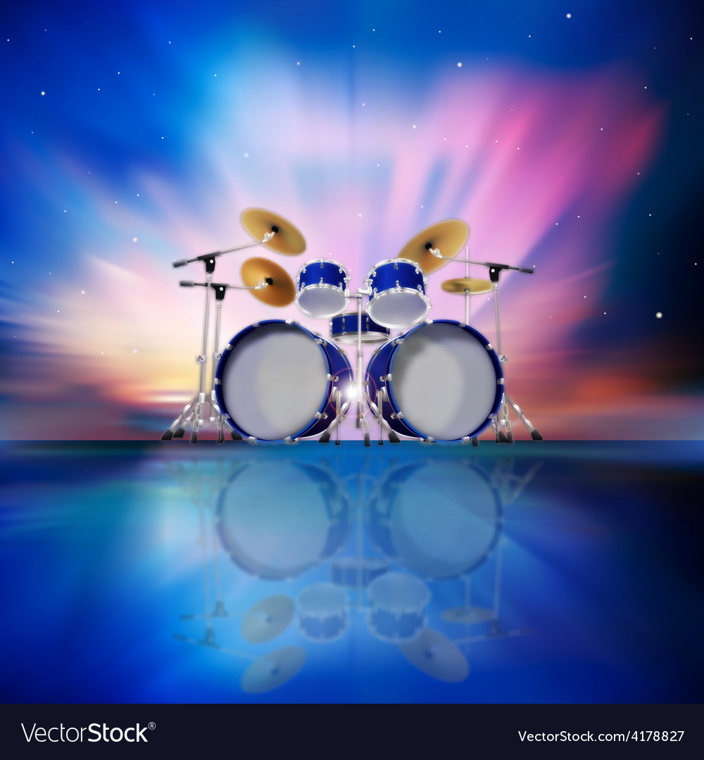 Abstract music blue background with drum kit and vector | Price: 3 Credit (USD $3)
