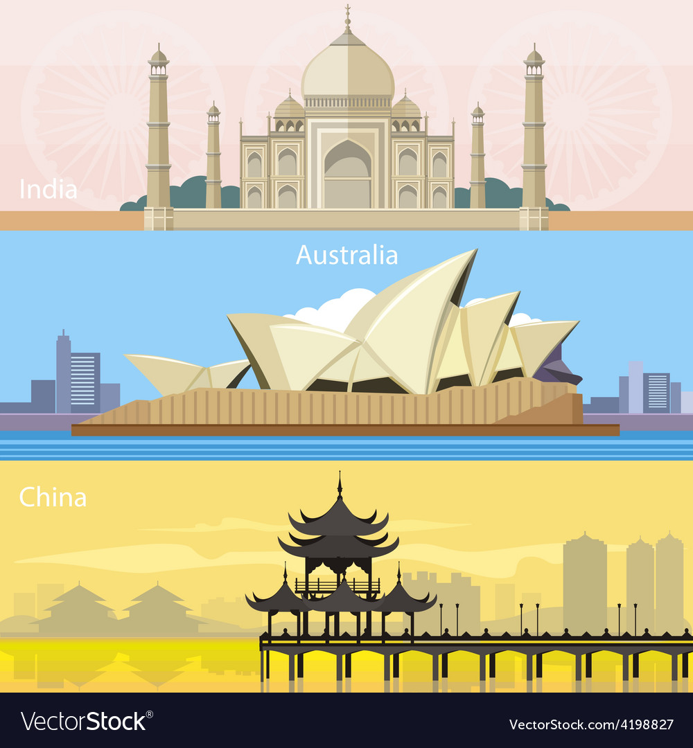 Australian china and india vector | Price: 1 Credit (USD $1)