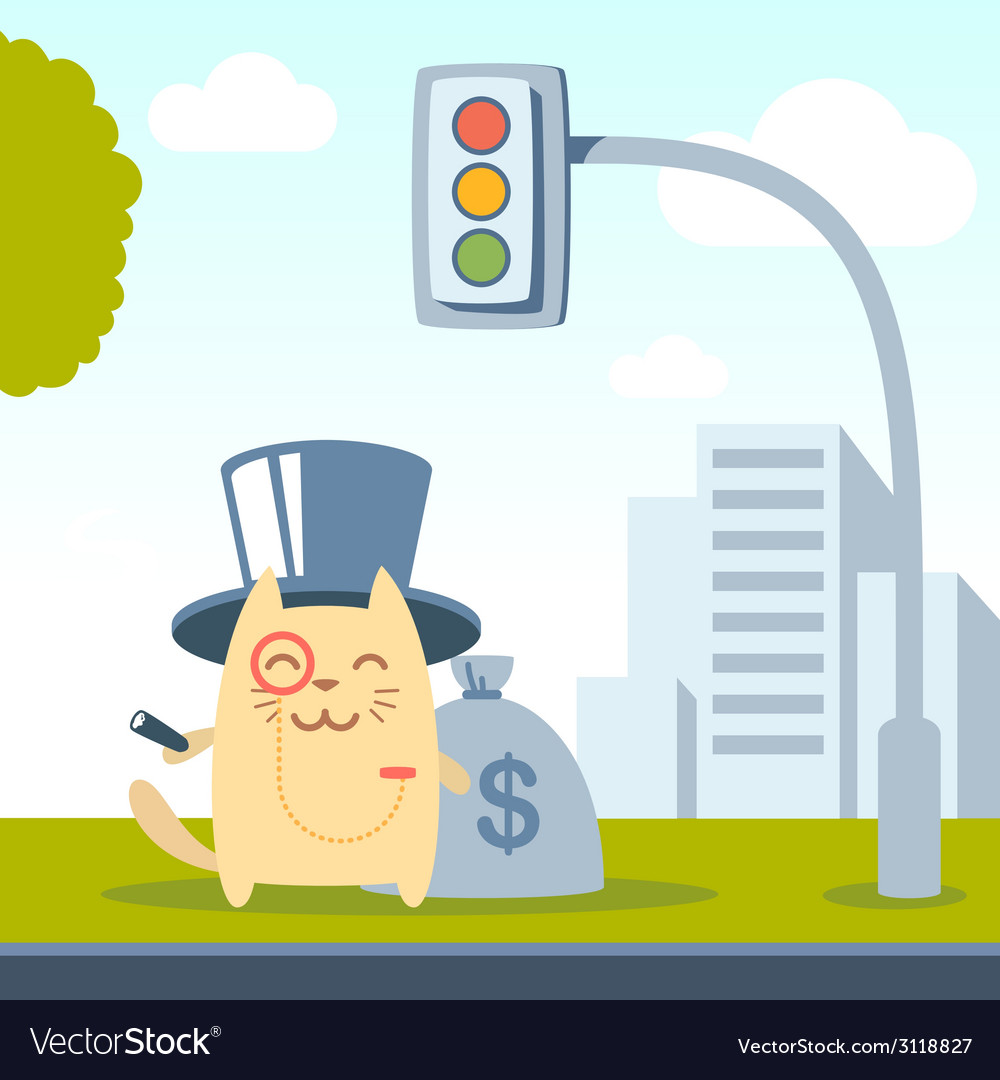 Character rich gentleman in a hat cylinder and a vector | Price: 1 Credit (USD $1)