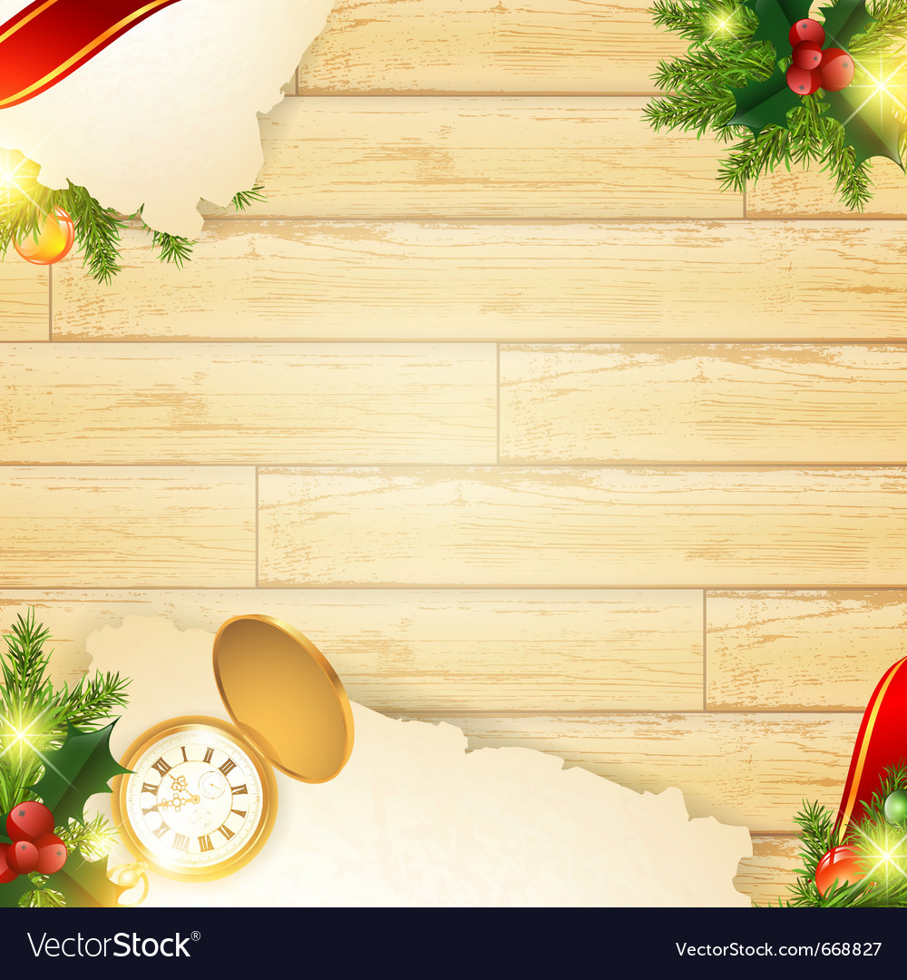Christmas vintage wooden background vector | Price: 1 Credit (USD $1)