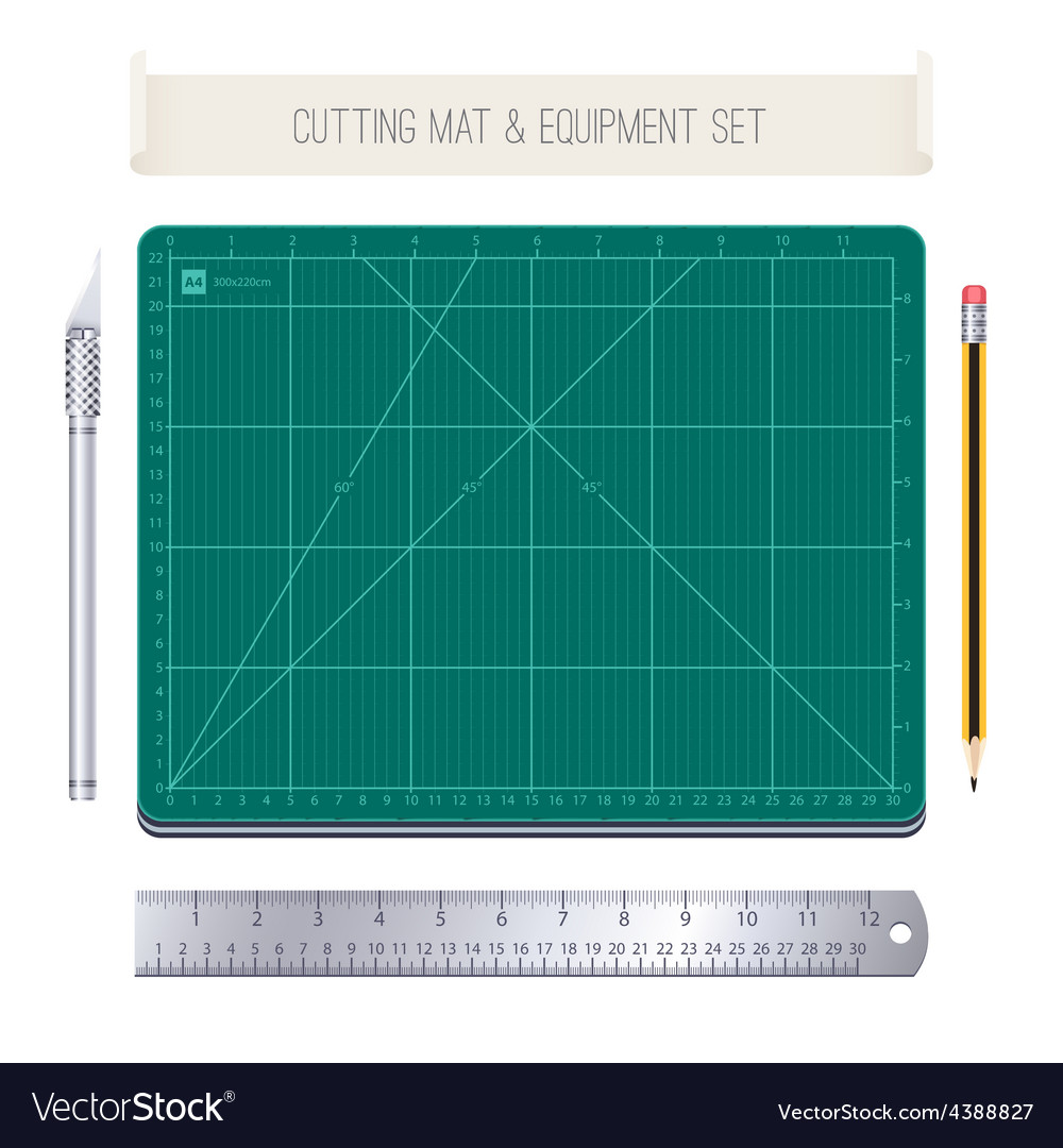 Cutting mat and equipment set vector | Price: 1 Credit (USD $1)