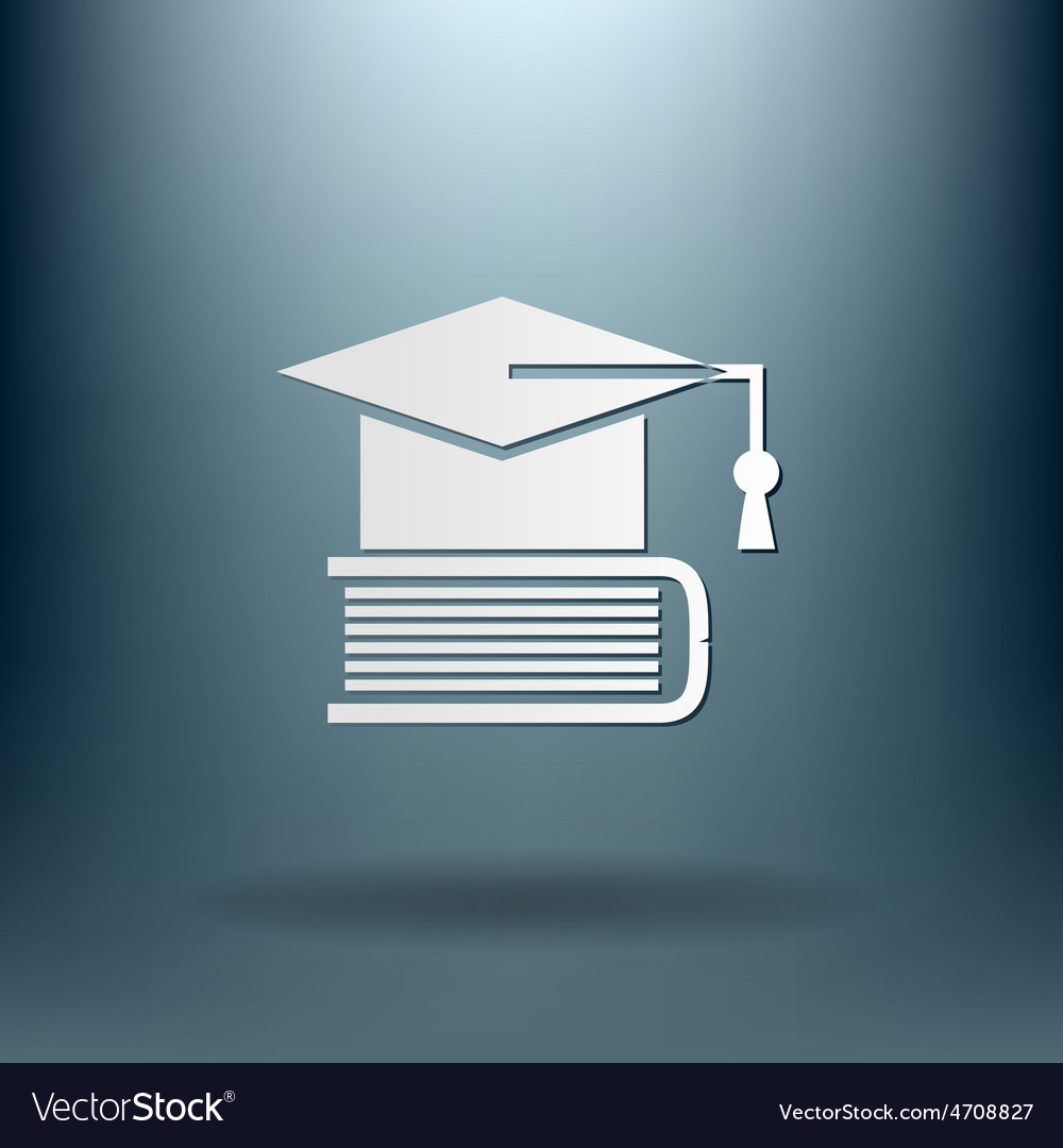 Graduate hat on the book icon teachings vector | Price: 1 Credit (USD $1)