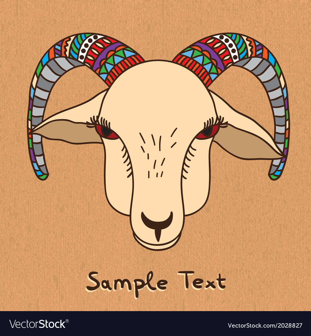 Hand drawn goat on canvas vector | Price: 1 Credit (USD $1)
