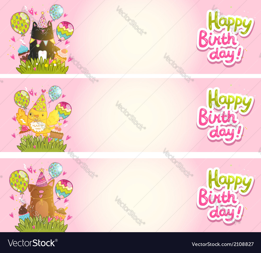 Happy birthday cards with cat dog bird vector | Price: 1 Credit (USD $1)