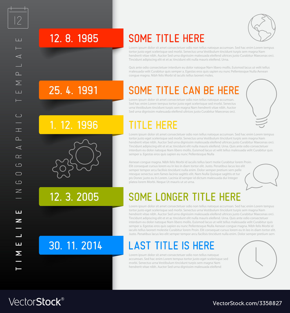 Infographic timeline report template with icons vector | Price: 1 Credit (USD $1)