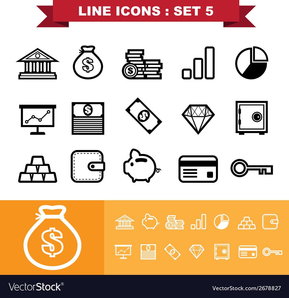 Line icons set 5 vector | Price: 1 Credit (USD $1)