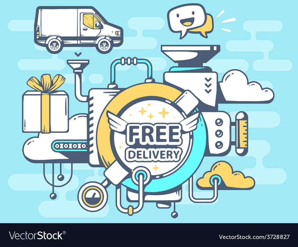 Mechanism free delivery and relevant icon vector | Price: 1 Credit (USD $1)