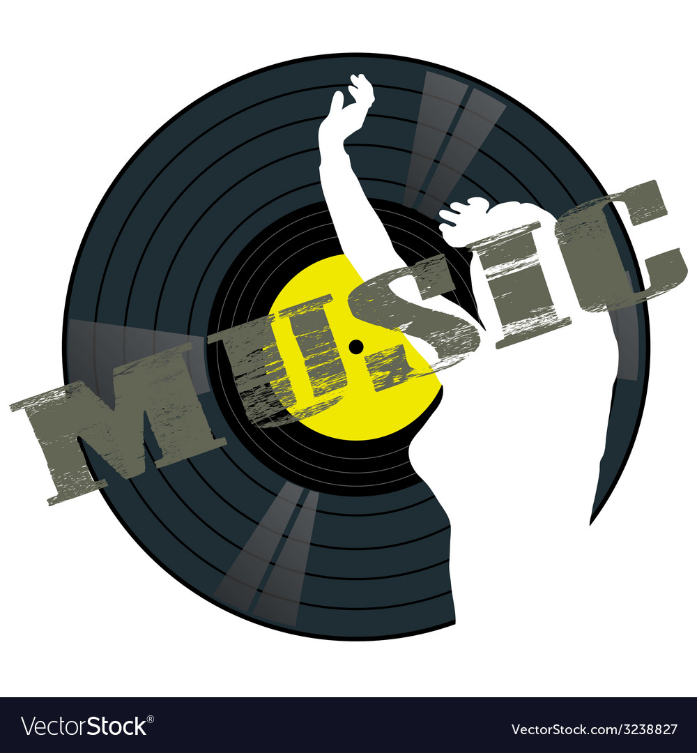 Music panel with girl vector | Price: 1 Credit (USD $1)