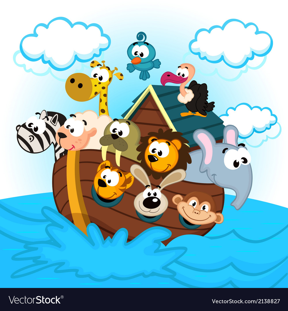 Noah ark with animals vector | Price: 1 Credit (USD $1)