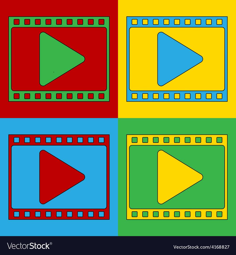 Pop art film strip icons vector | Price: 1 Credit (USD $1)