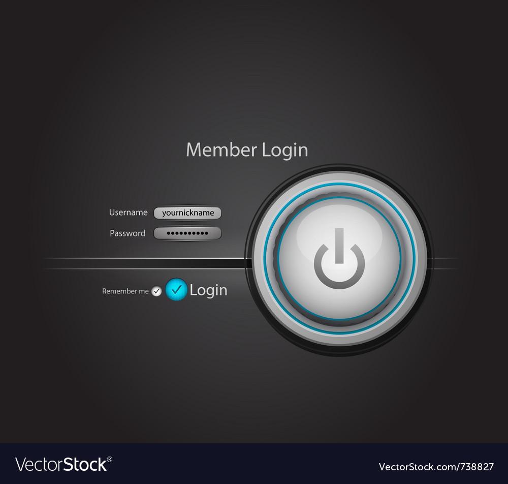Power login button vector | Price: 1 Credit (USD $1)