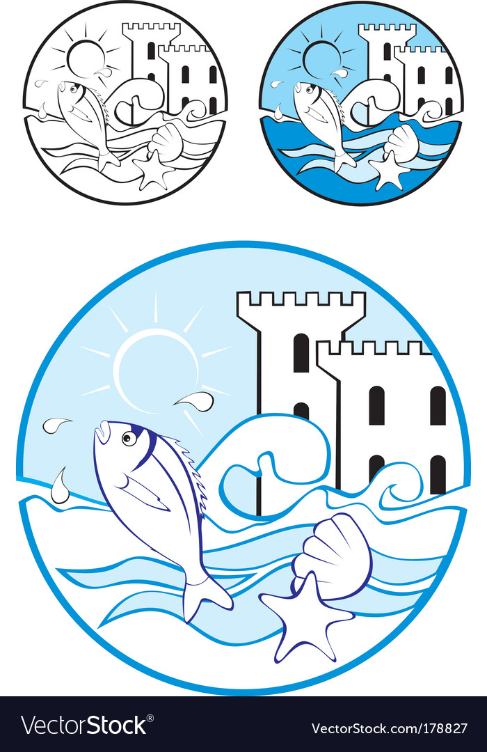 Sea park design elements vector | Price: 3 Credit (USD $3)