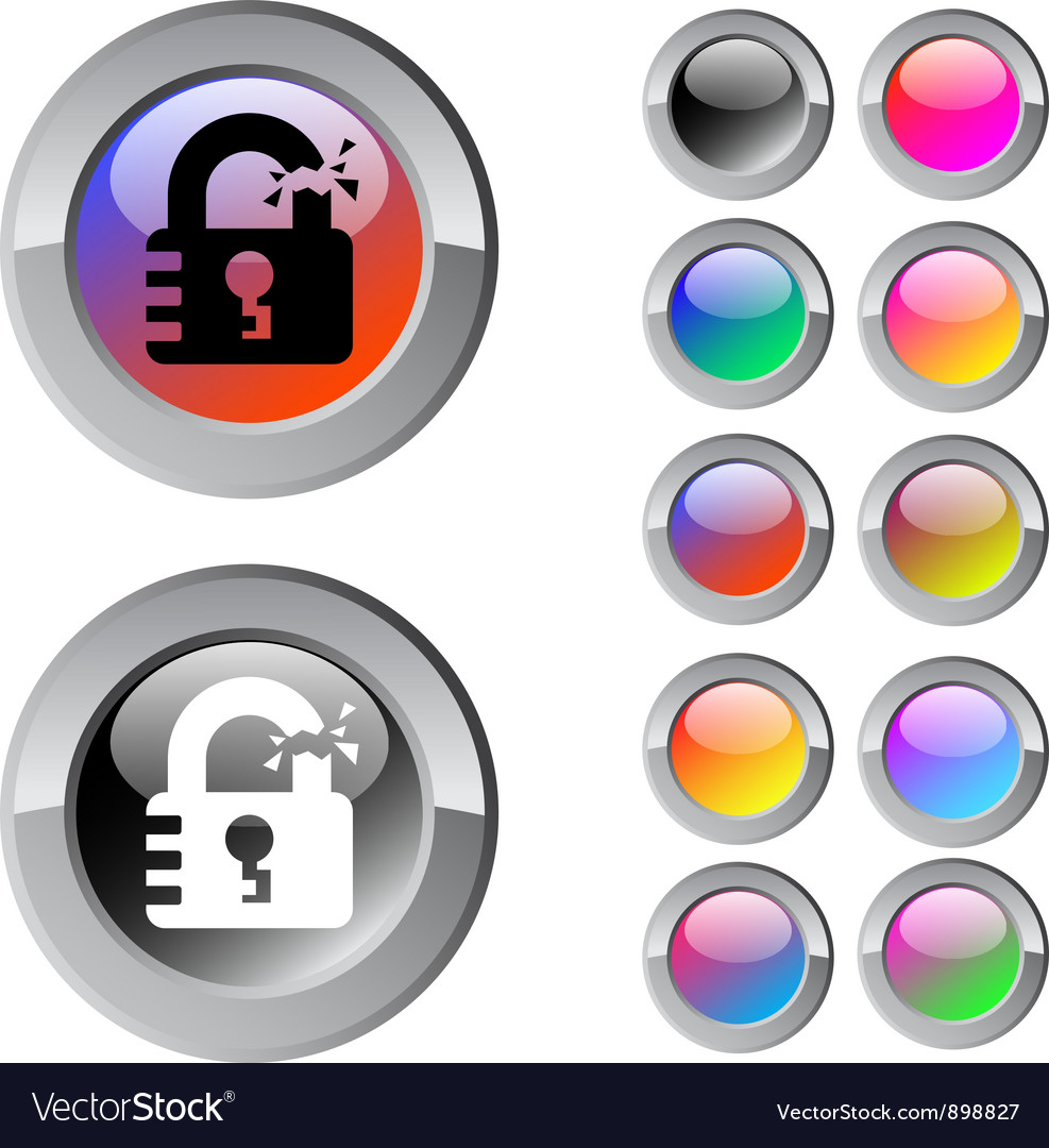 Unlock multicolor round button vector | Price: 1 Credit (USD $1)