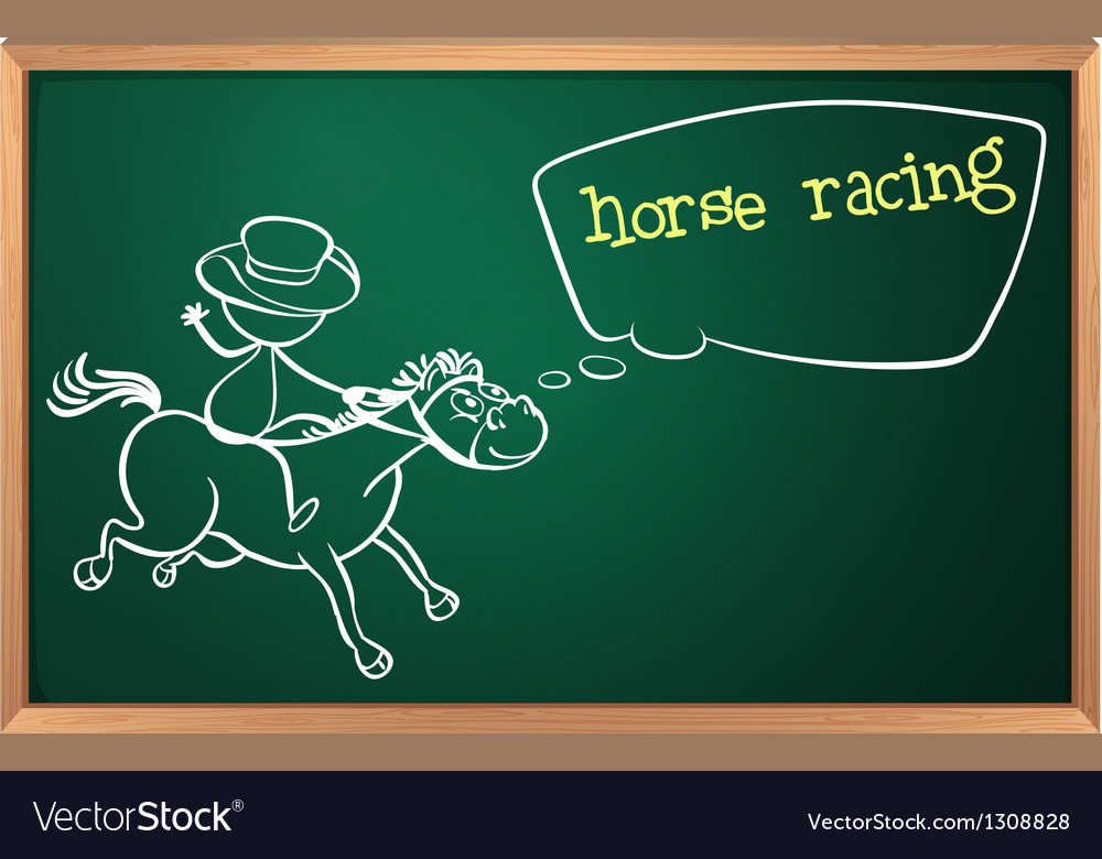 A blackboard with a drawing of a boy doing horse vector | Price: 1 Credit (USD $1)