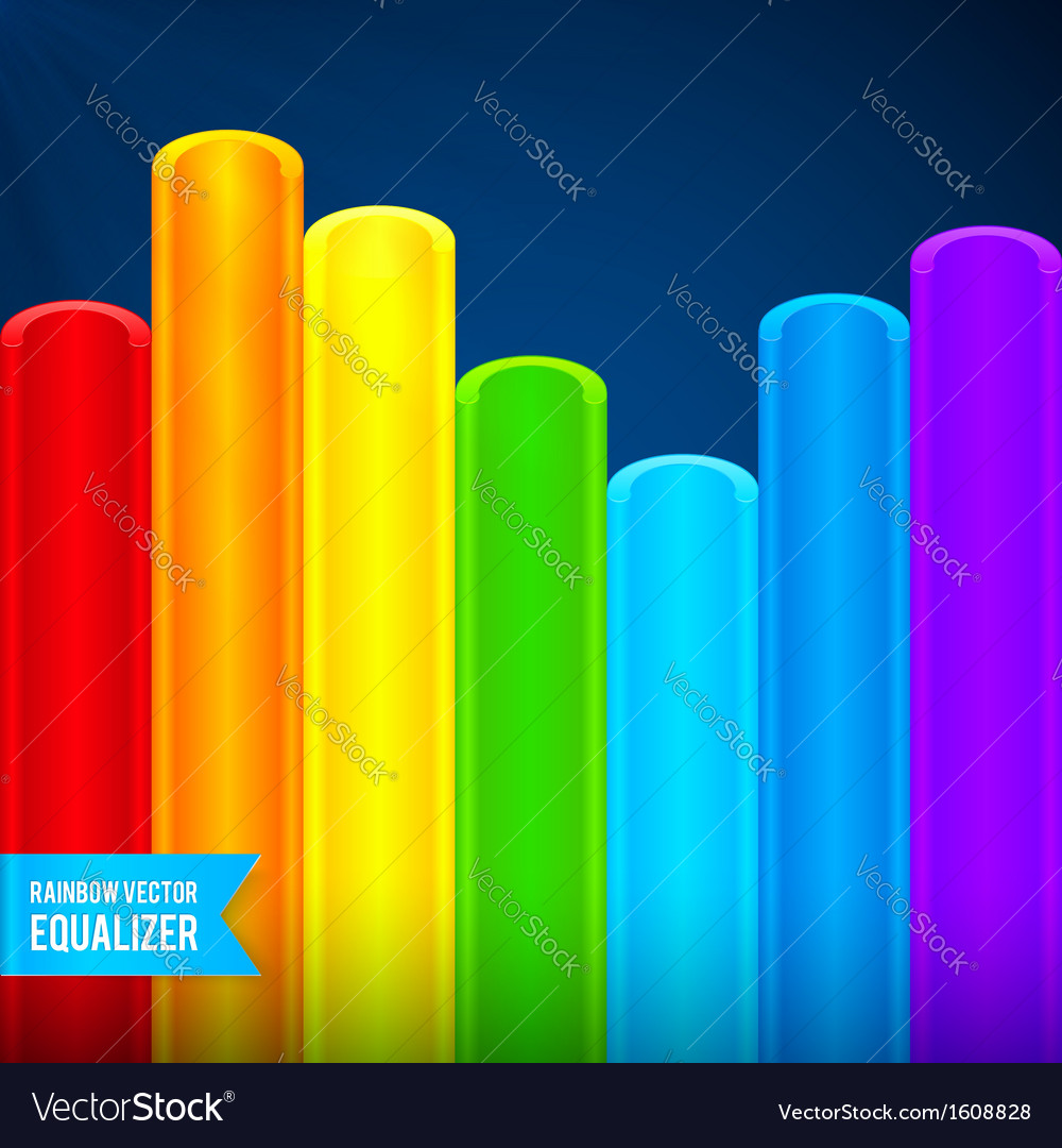 Bright rainbow colors plastic tubes equalizer vector | Price: 1 Credit (USD $1)