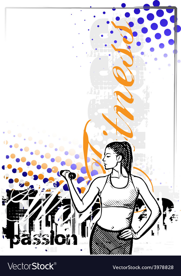 Fitness woman color poster background vector | Price: 1 Credit (USD $1)