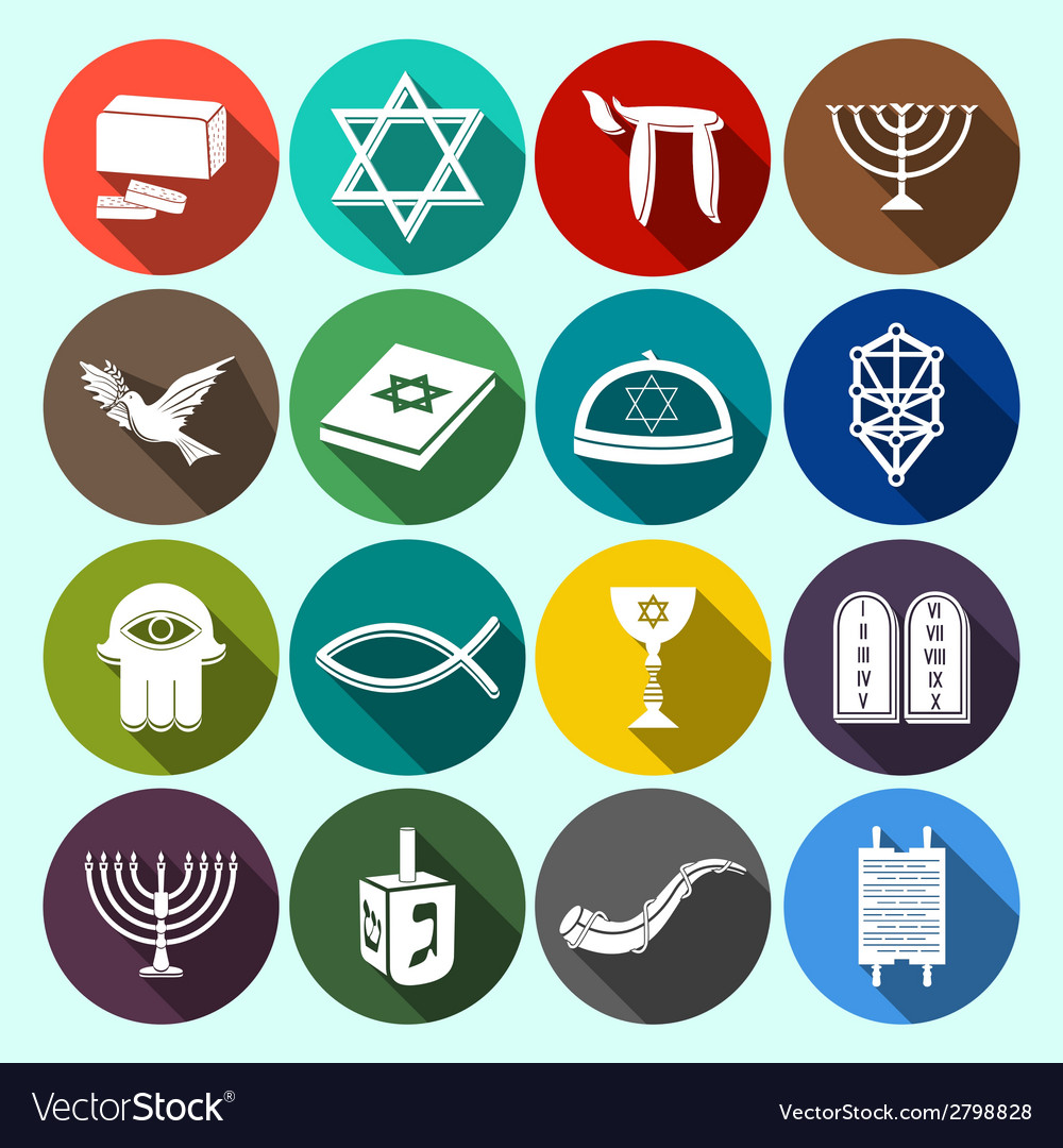 Judaism icons set flat vector | Price: 1 Credit (USD $1)