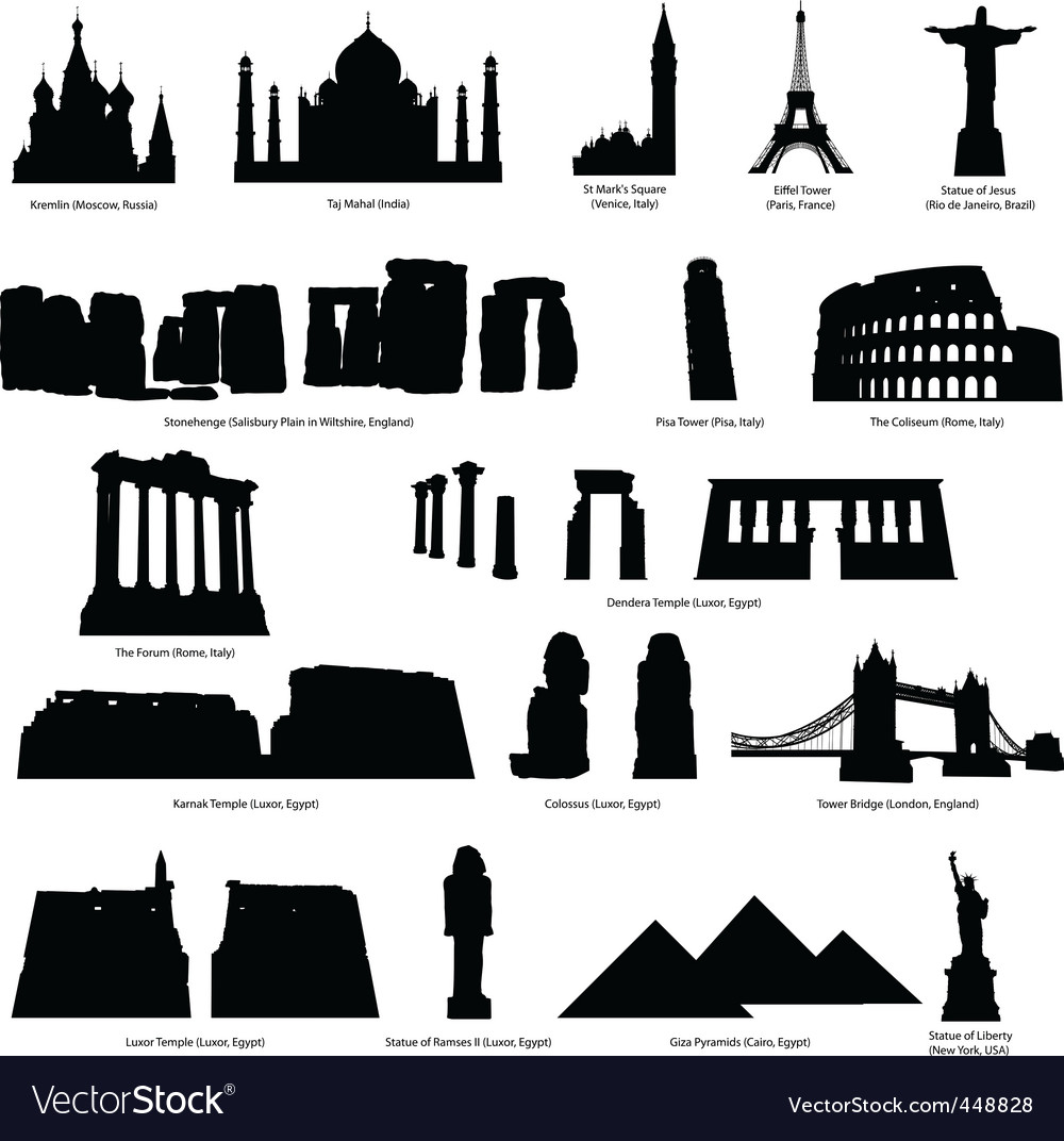 Landmarks silhouette set vector | Price: 1 Credit (USD $1)