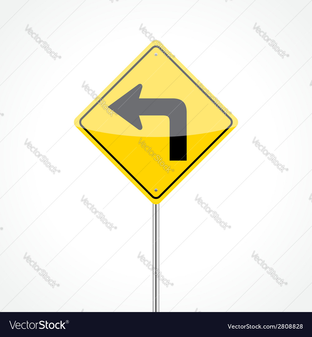 Left turn sign vector | Price: 1 Credit (USD $1)