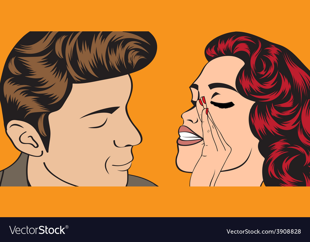 Pop art cute retro couple in comics style vector   Price: 1 Credit (USD $1)