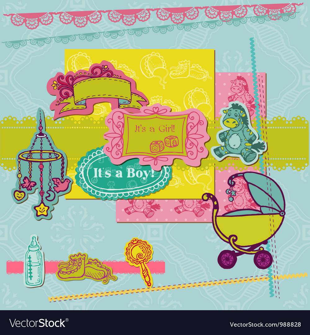 Scrapbook design elements - baby arrival set vector | Price: 1 Credit (USD $1)