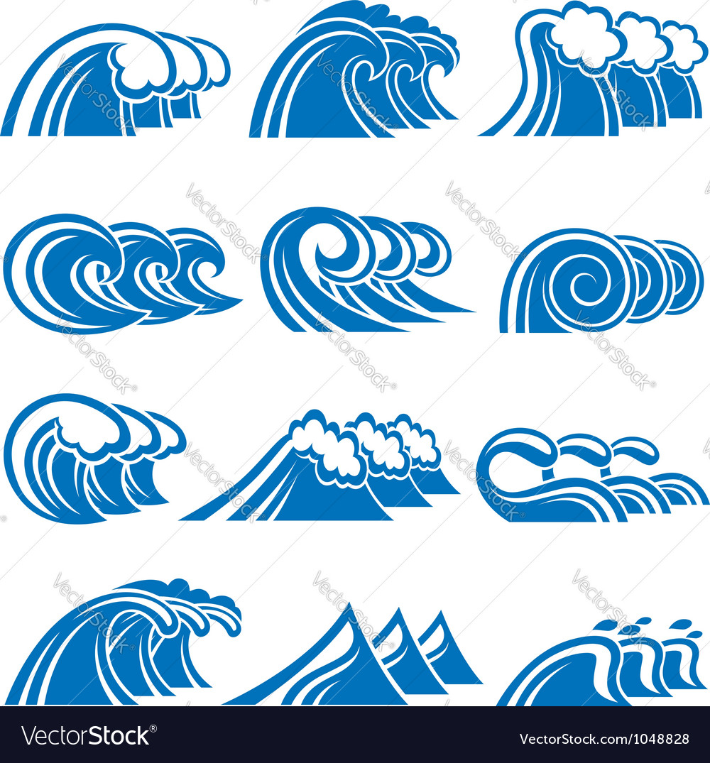 Set of waves vector | Price: 1 Credit (USD $1)