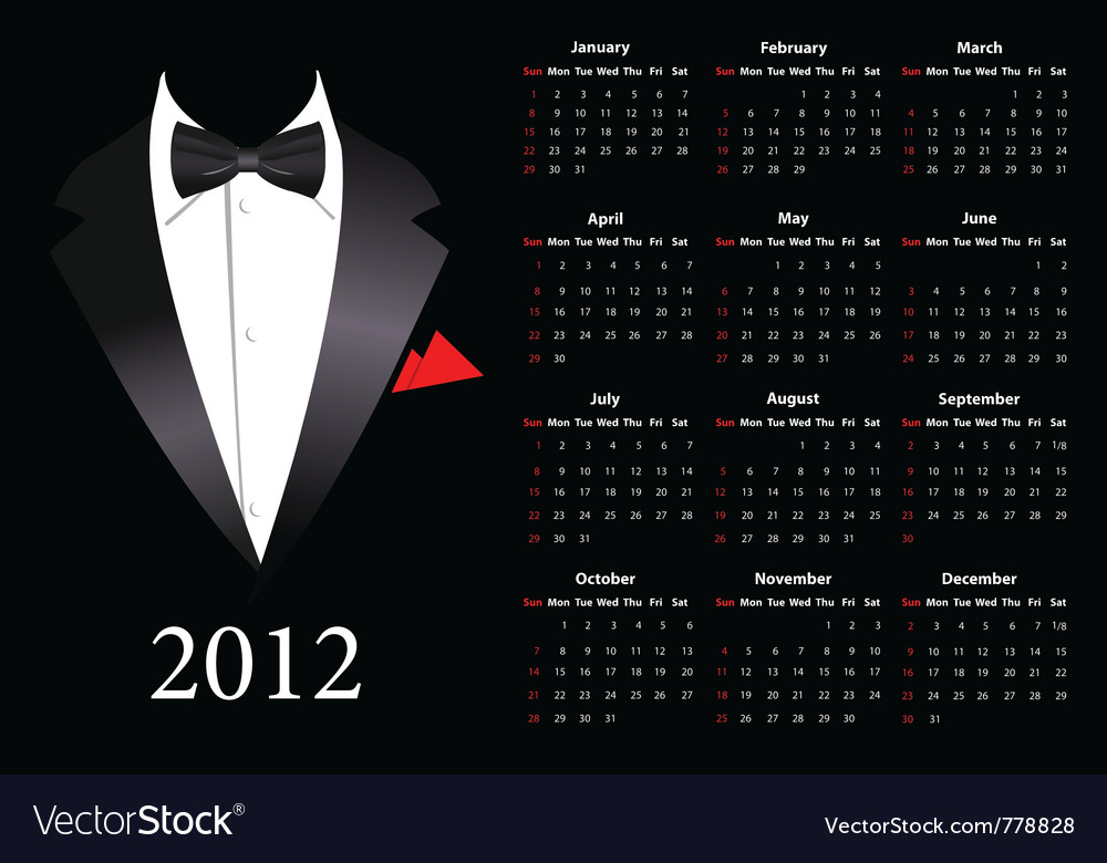 Suite calendar 2012 vector | Price: 1 Credit (USD $1)