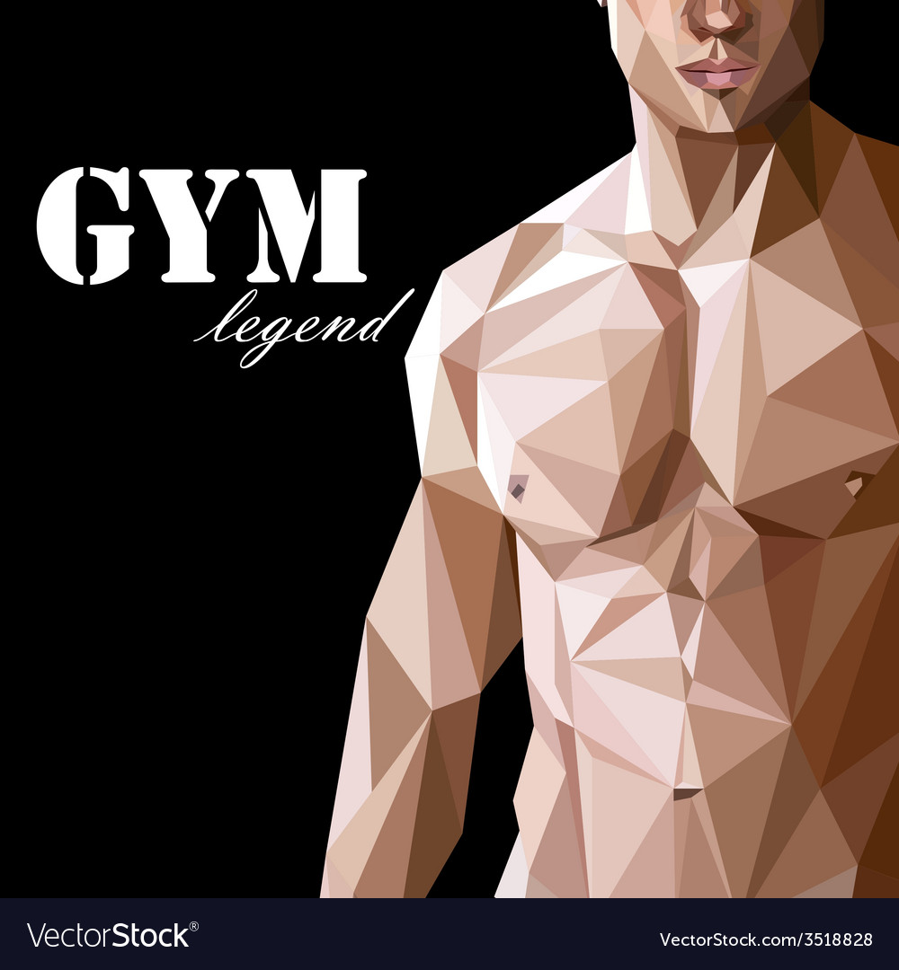 With caucasian or asian man muscle body in vector | Price: 1 Credit (USD $1)