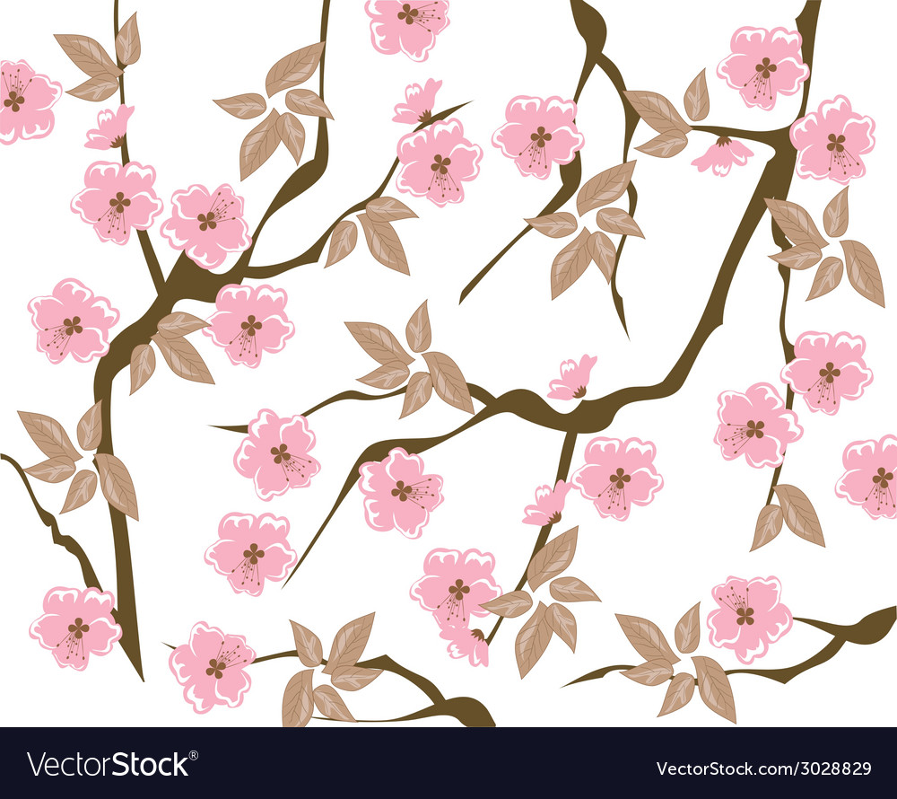 Blooming cherry background vector | Price: 1 Credit (USD $1)