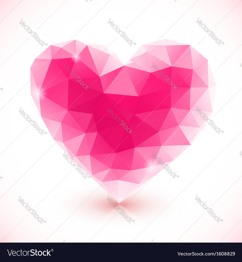 Bright pink crystal isolated heart vector | Price: 1 Credit (USD $1)
