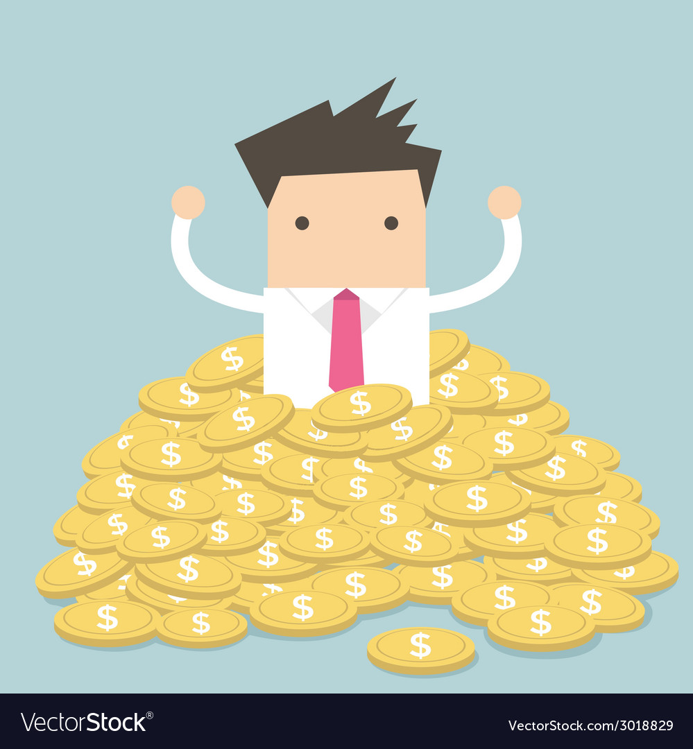 Businessman sitting in a pile of gold coins vector | Price: 1 Credit (USD $1)