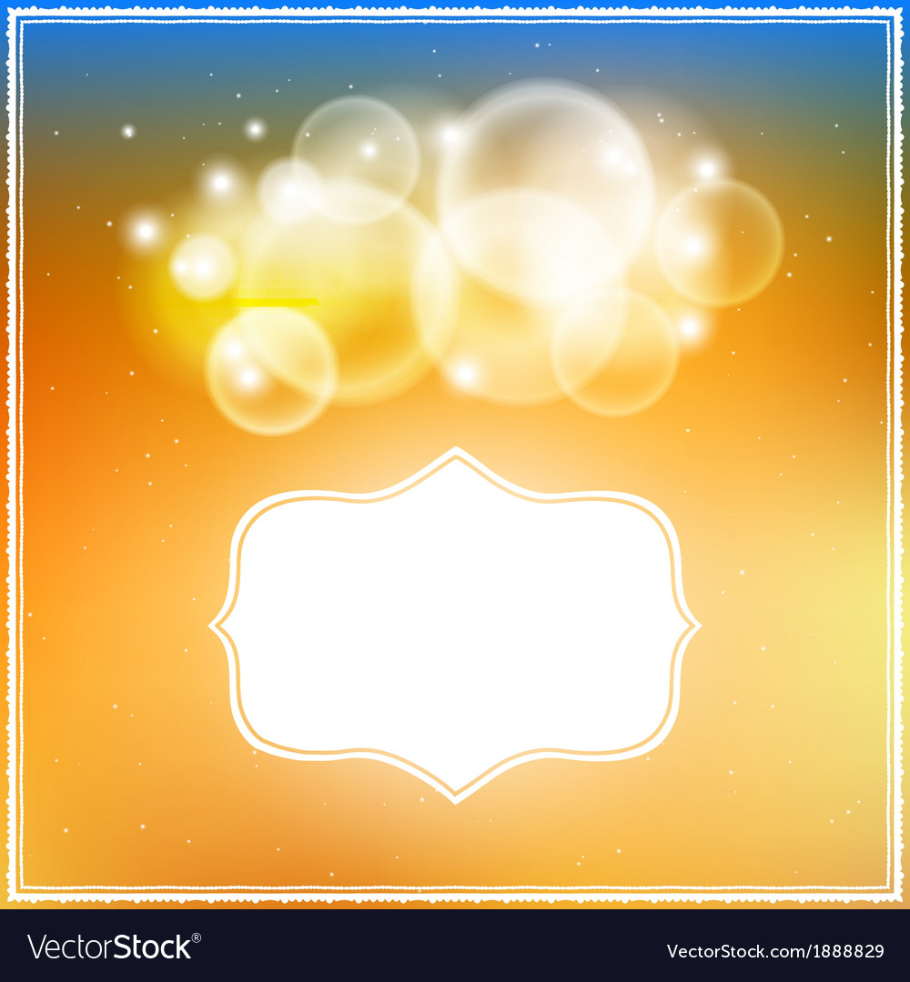 Card with frame and soft autumn bokeh background vector | Price: 1 Credit (USD $1)