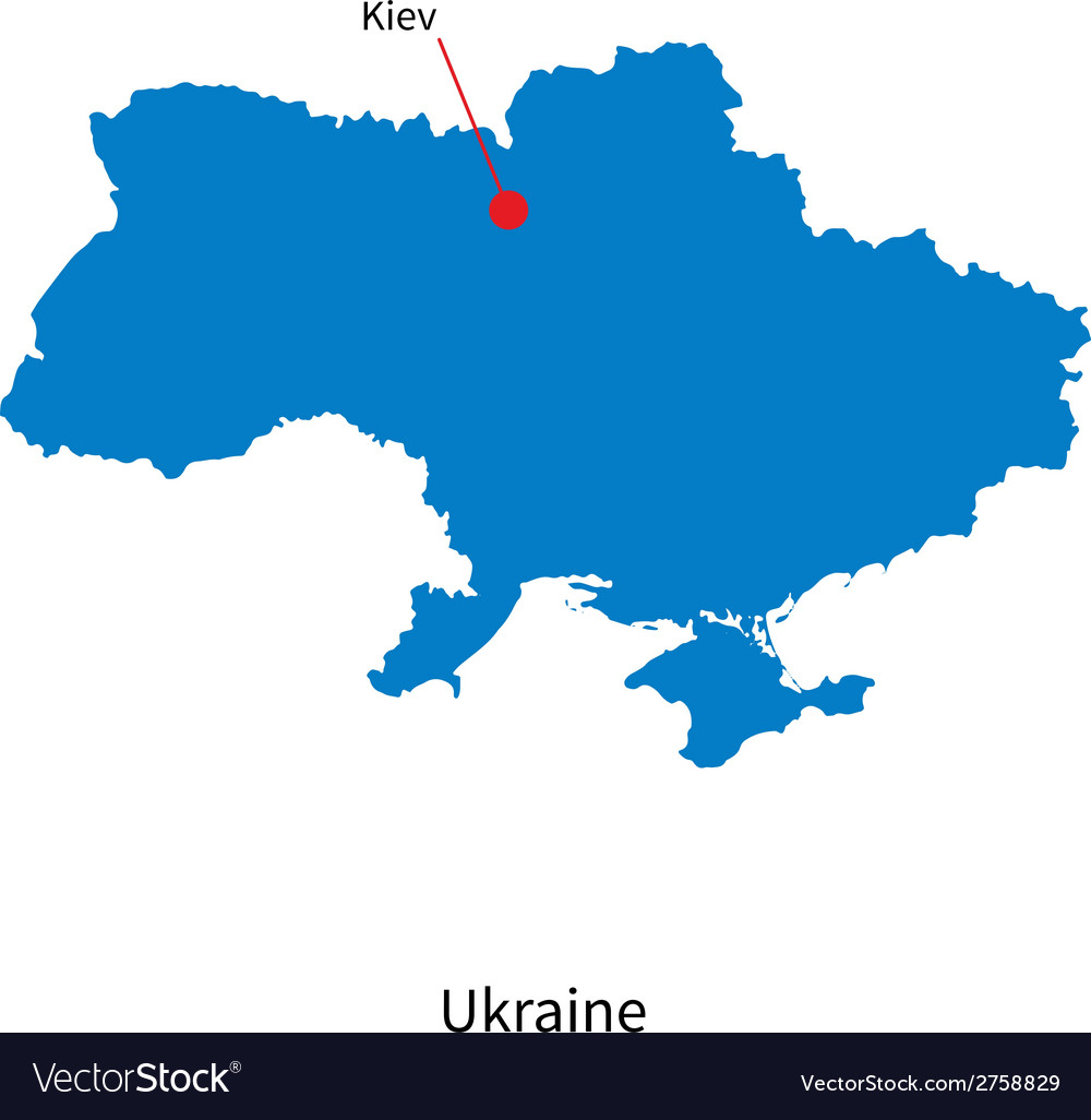 Detailed map of ukraine and capital city kiev vector | Price: 1 Credit (USD $1)