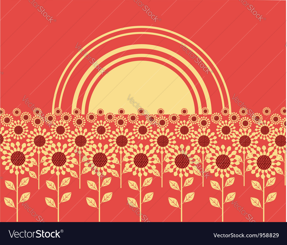 Field of sunflowers background vector | Price: 1 Credit (USD $1)