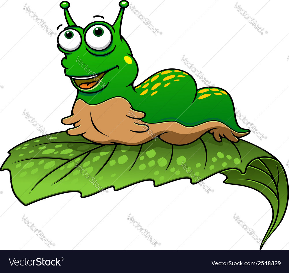 Green cartoon caterpillar insect vector | Price: 1 Credit (USD $1)
