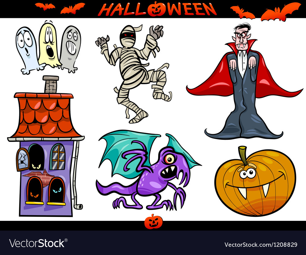 Halloween cartoon themes set vector | Price: 3 Credit (USD $3)