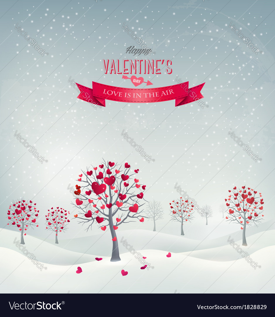 Holiday retro background valentine trees with vector | Price: 1 Credit (USD $1)