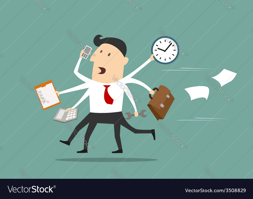 Multitasking businessman running flat concept vector | Price: 1 Credit (USD $1)