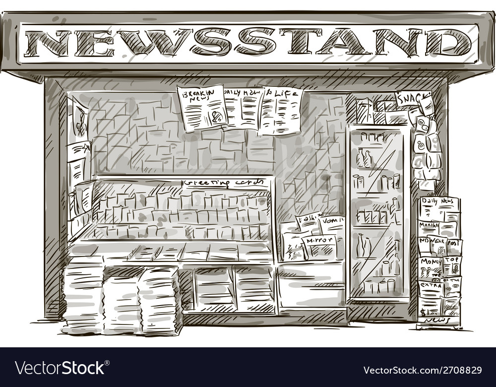 Newsstand hand drawn press kiosk vector | Price: 1 Credit (USD $1)