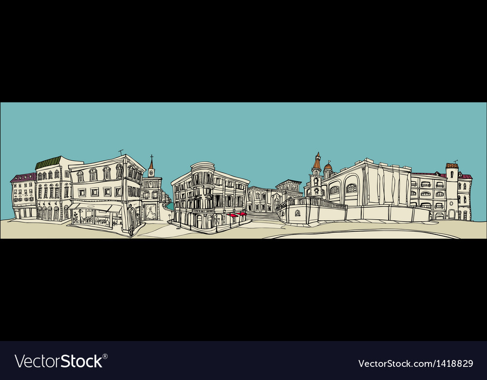 Townscape sketch vector | Price: 1 Credit (USD $1)