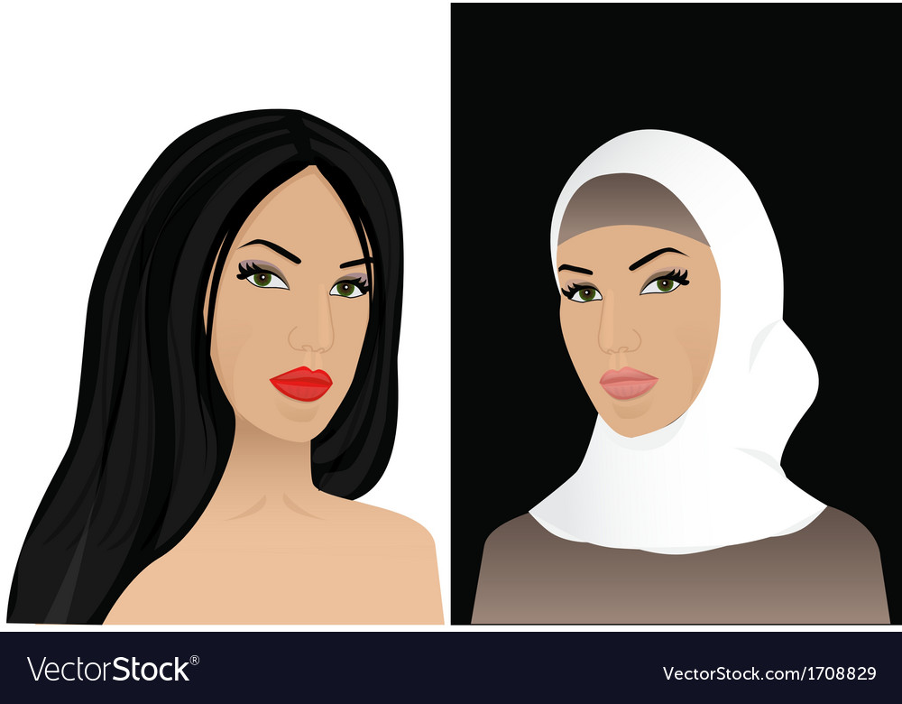 Woman in hijab and without hijab vector | Price: 1 Credit (USD $1)